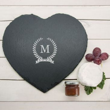 Monogrammed Wreath Heart Slate Cheese Board